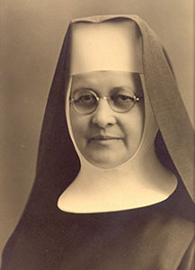 Black and white portrait of Mother Eustacia